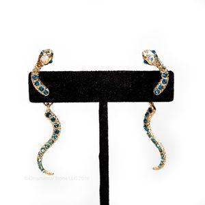 Snake Blue Crystal Gold Post & Dangle Earrings #64